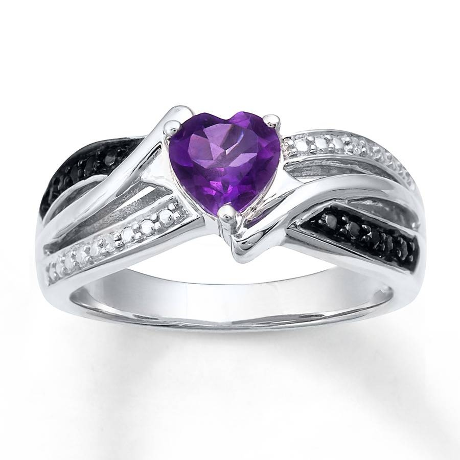 Kay – Amethyst Heart Ring Diamond Accents Sterling Silver For Wedding Rings With Amethyst (View 4 of 15)