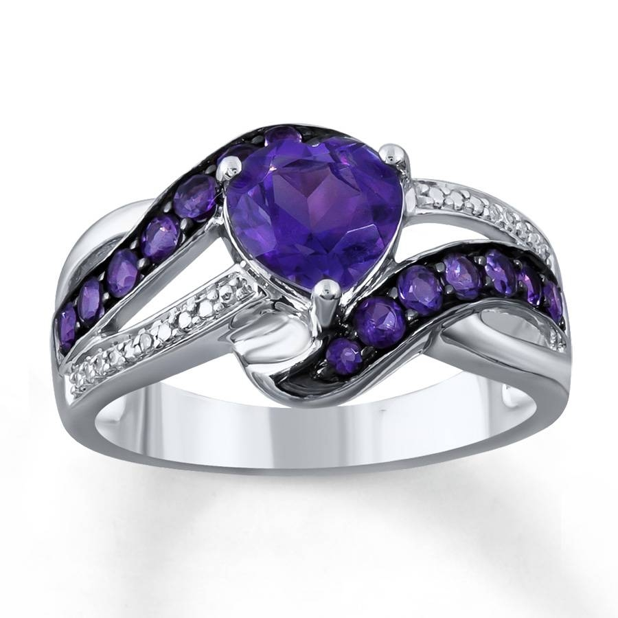 Kay – Amethyst Heart Ring Diamond Accents Sterling Silver In Wedding Rings With Amethyst (View 5 of 15)