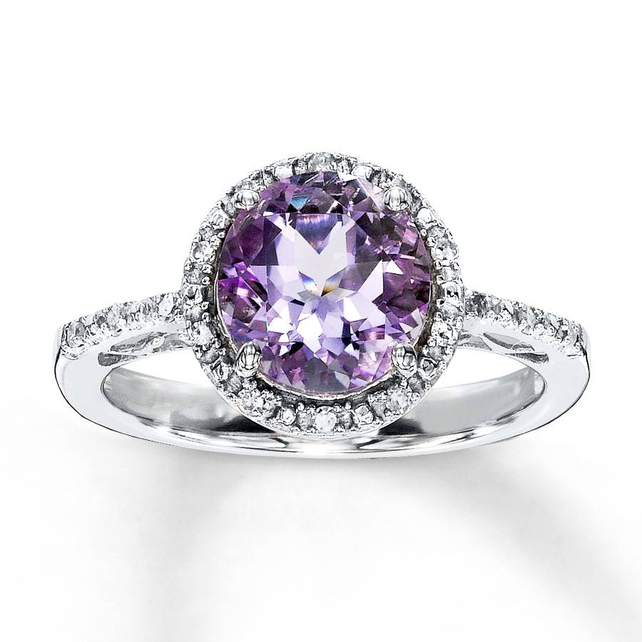 Kay – Amethyst Ring Round Cut With Diamonds Sterling Silver Throughout Wedding Rings With Amethyst (View 12 of 15)