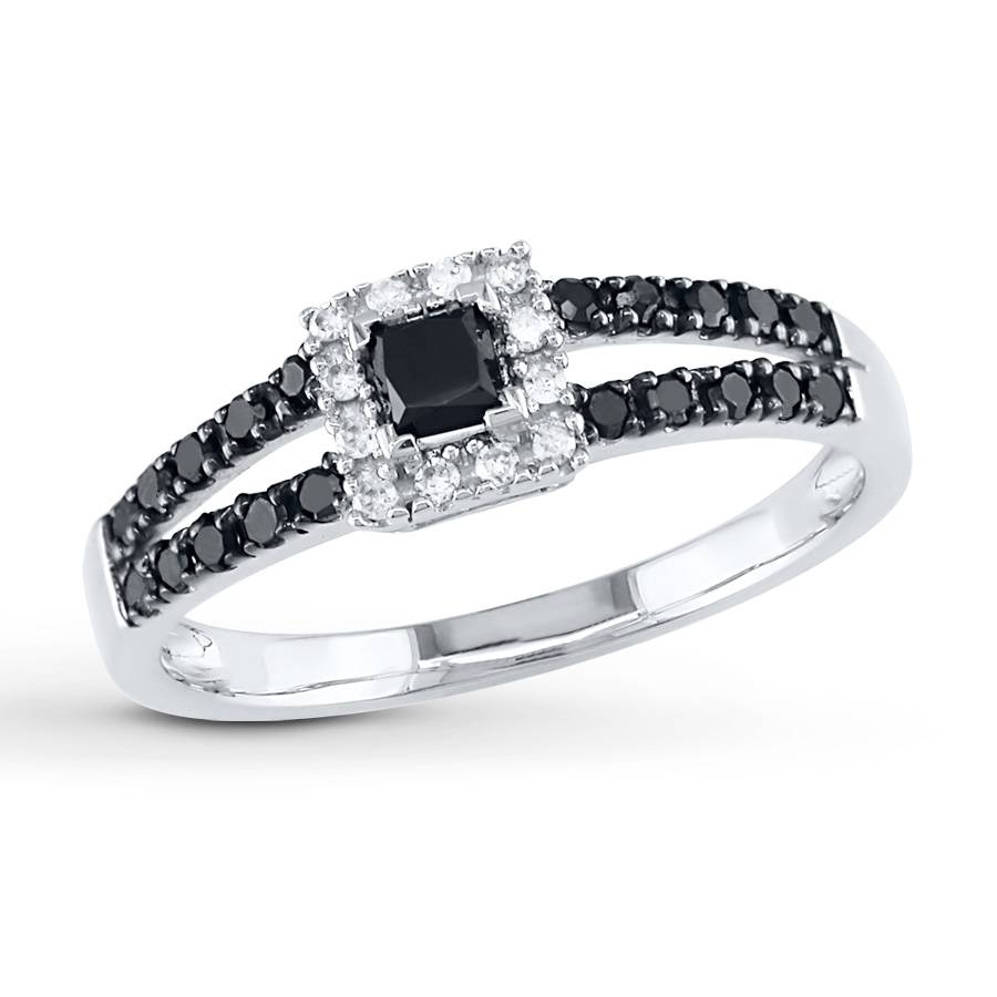 Kay – Black Diamond Ring 1/2 Ct Tw Princess Cut 10K White Gold With Black And White Princess Cut Diamond Engagement Rings (View 10 of 15)