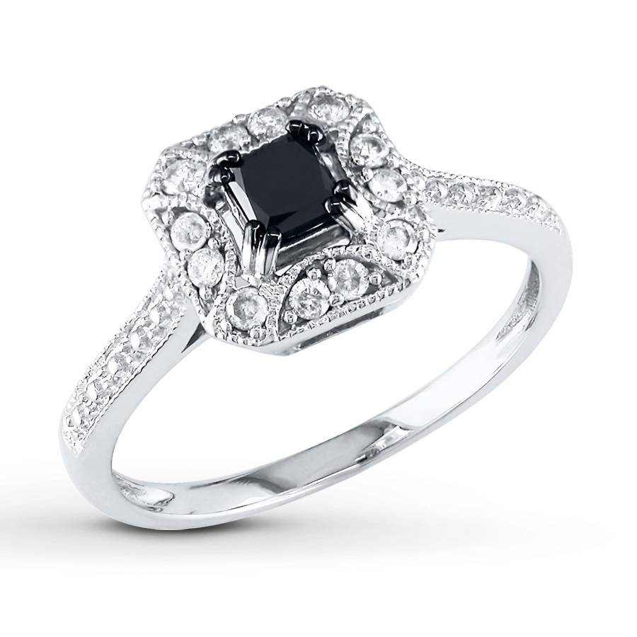 Kay – Black/white Diamond Ring 5/8 Ct Tw Princess Cut 10K White Gold Intended For Black And White Princess Cut Diamond Engagement Rings (View 11 of 15)