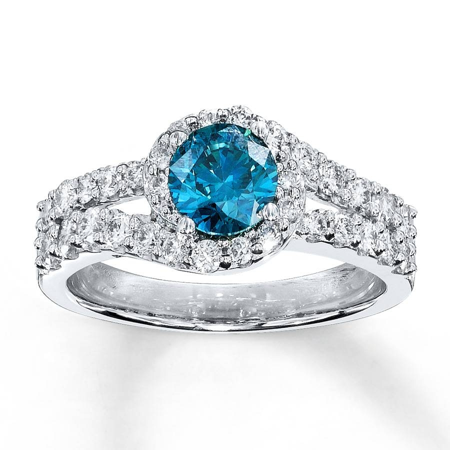 Kay – Blue Diamond Ring 1 3/8 Ct Tw Round Cut 14K White Gold Throughout Colored Diamond Wedding Bands (View 9 of 15)