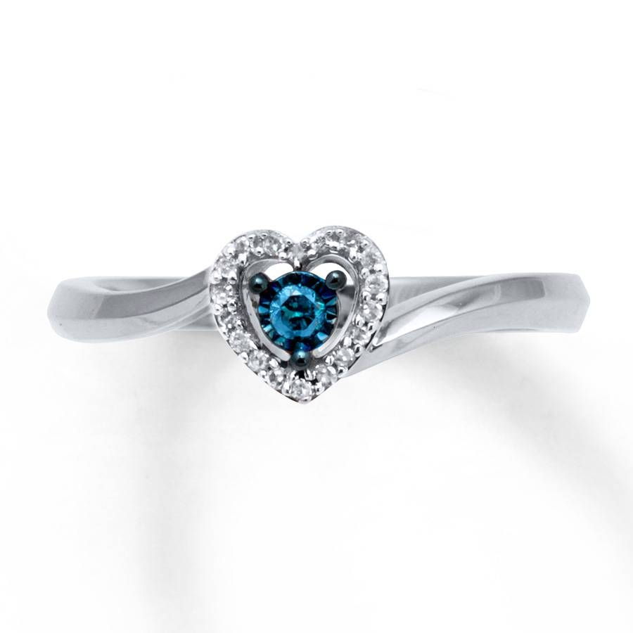 Kay – Blue & White Diamonds 1/10 Carat Tw Ring Sterling Silver Heart Regarding Blue Heart Engagement Rings (View 2 of 15)