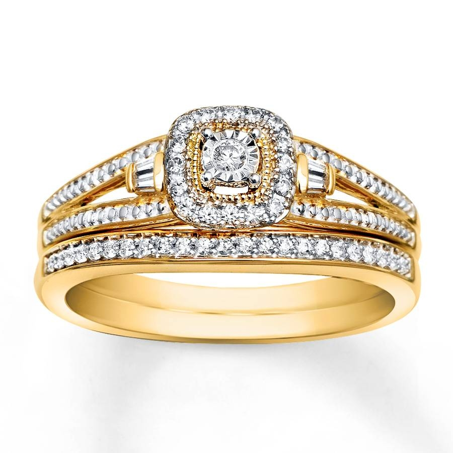 Kay – Diamond Bridal Set 1/5 Carat Tw 10K Yellow Gold For Current Yellow Gold Wedding Band Sets (Gallery 4 of 15)