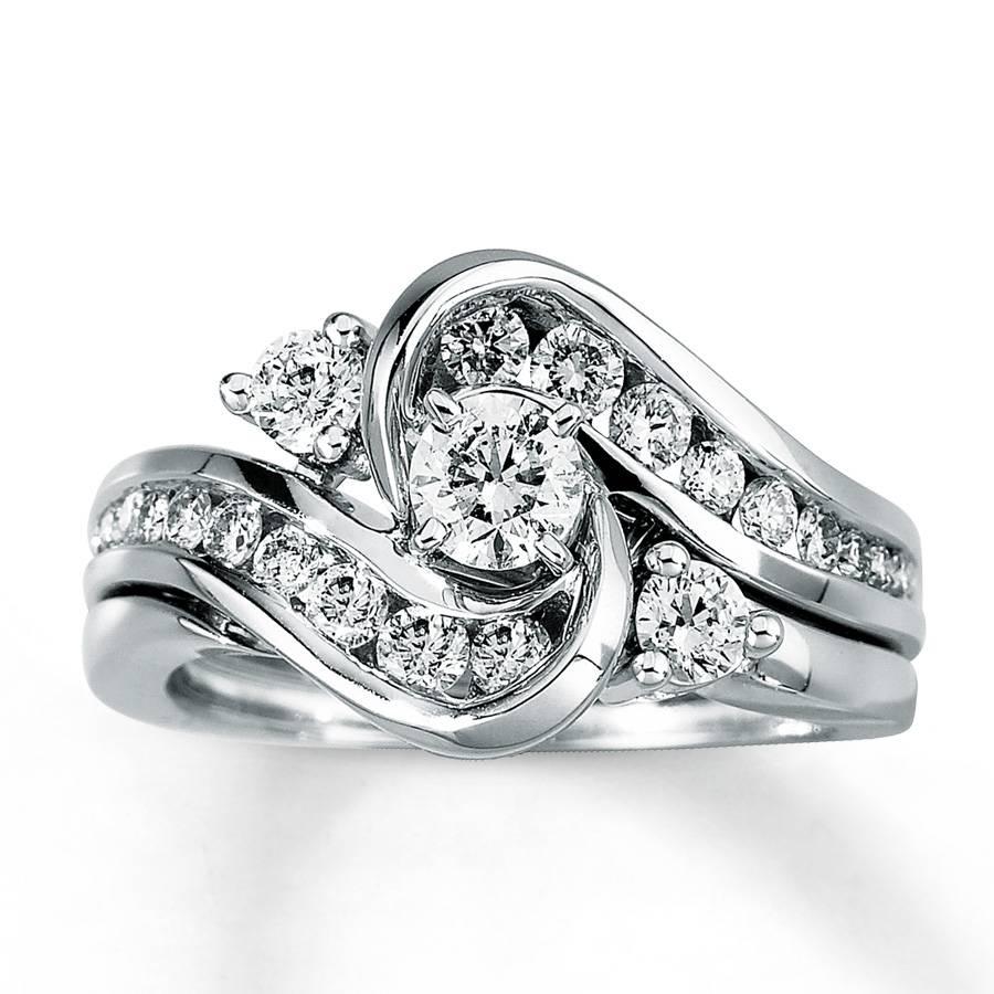 Kay – Diamond Bridal Set 1 Ct Tw Round Cut 14k White Gold Regarding White Gold Diamond Wedding Ring Sets (View 2 of 15)