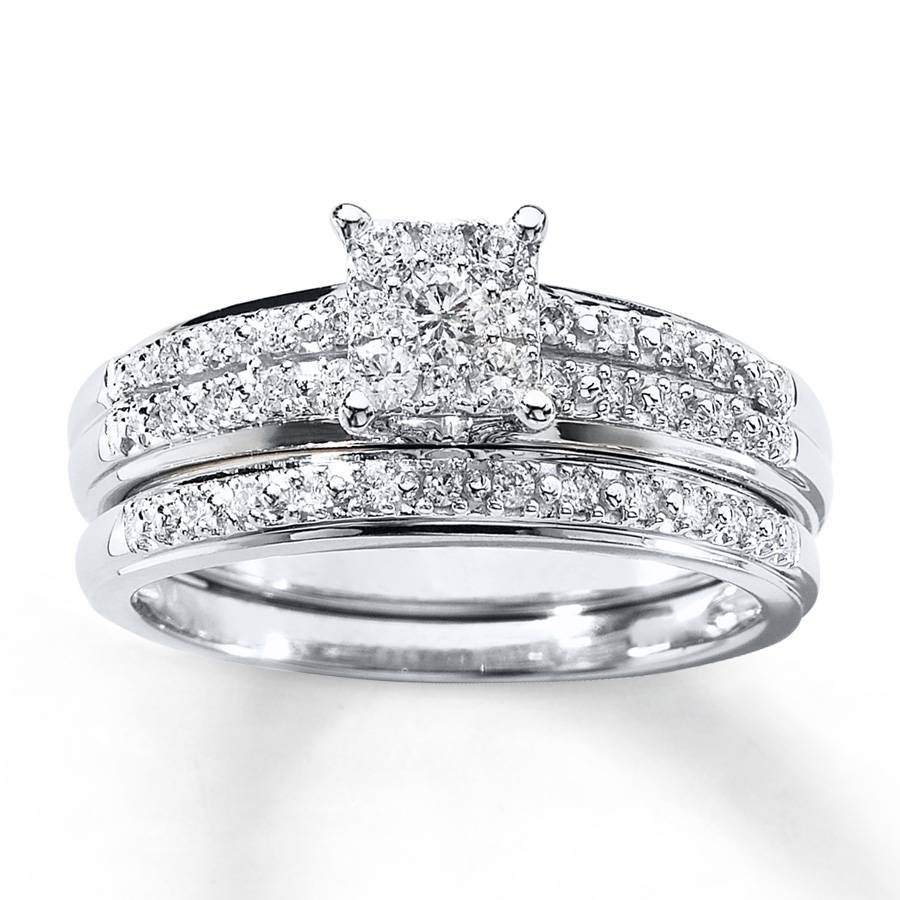 Kay – Diamond Bridal Set 1/3 Ct Tw Round Cut 10K White Gold Regarding White Gold Diamond Wedding Ring Sets (Gallery 1 of 15)