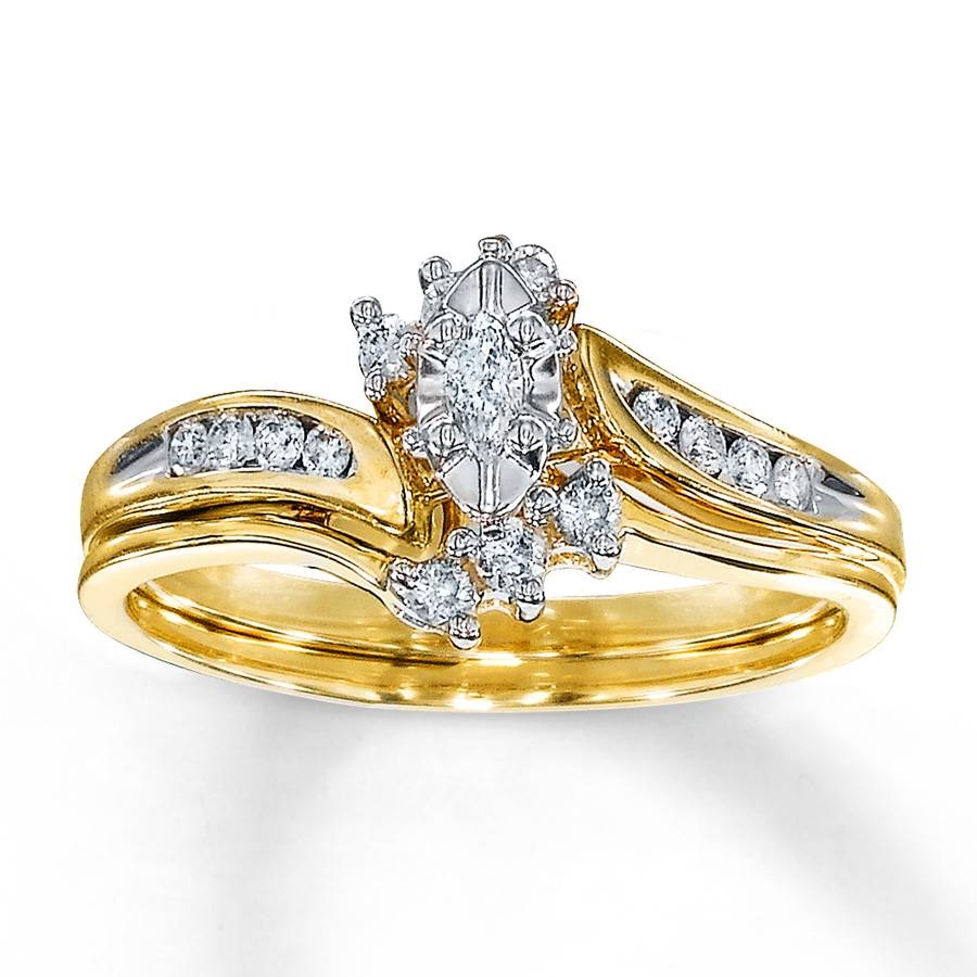 Kay – Diamond Bridal Set 1/4 Ct Tw Marquise Cut 10K Yellow Gold In Yellow Diamond Wedding Sets (Gallery 12 of 15)