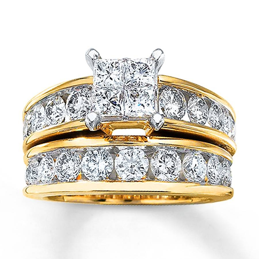 Kay – Diamond Bridal Set 3 Carats Tw 14K Yellow Gold With Regard To Latest Yellow Gold Wedding Band Sets (View 9 of 15)