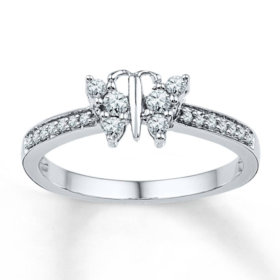 Kay – Diamond Butterfly Ring 1/4 Ct Tw Round Cut 10k White Gold With Regard To Butterfly Diamond Engagement Rings (View 5 of 15)