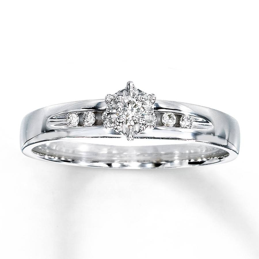 Kay – Diamond Engagement Ring 1/10 Ct Tw Round Cut 10K White Gold Regarding 10K Diamond Engagement Rings (Gallery 6 of 15)