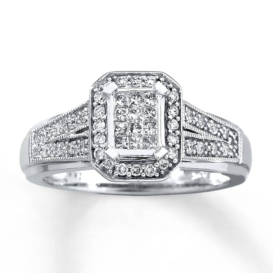 Kay – Diamond Engagement Ring 1/3 Ct Tw Princess Cut 10K White Gold With Regard To 10K Diamond Engagement Rings (View 10 of 15)