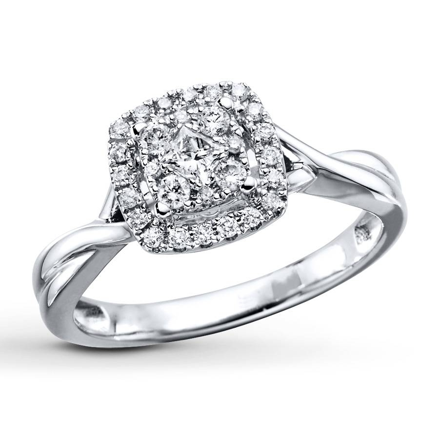 Kay – Diamond Engagement Ring 1/3 Ct Tw Round Cut 10K White Gold With 10K Diamond Engagement Rings (View 11 of 15)