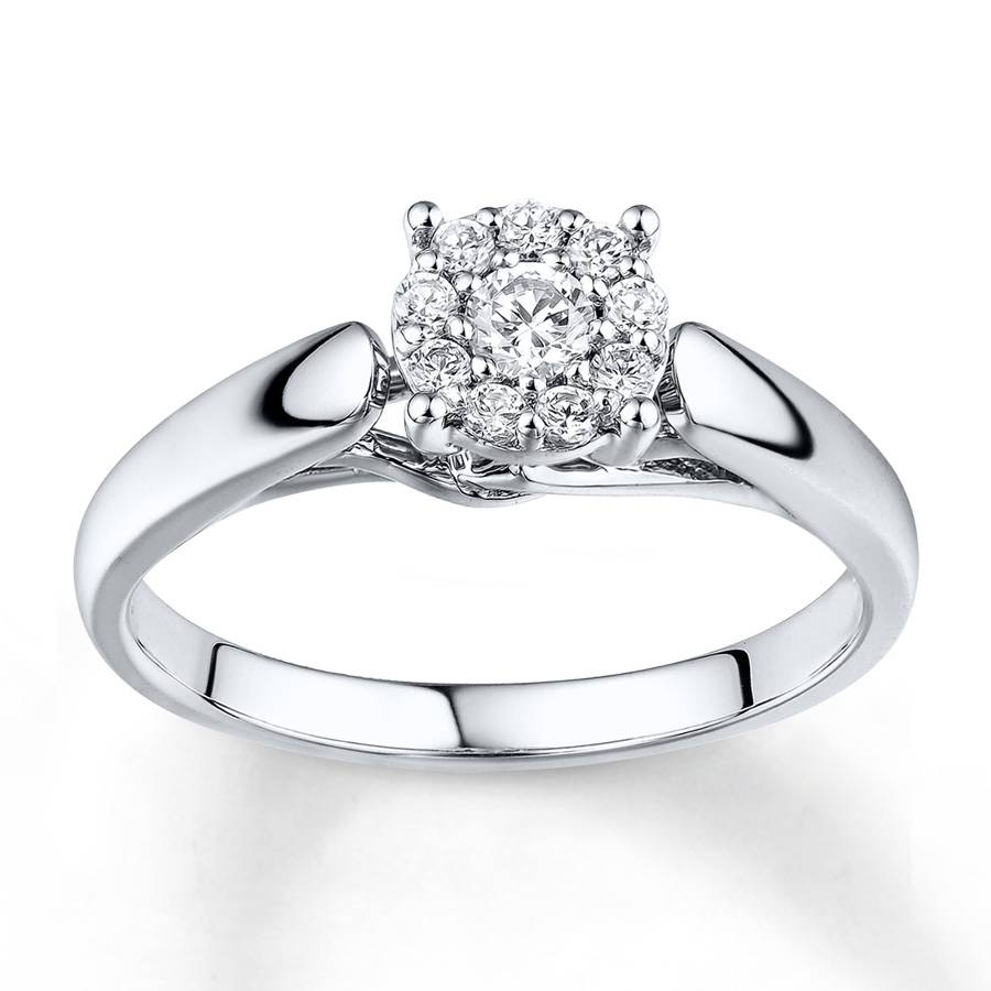 Kay – Diamond Engagement Ring 1/4 Ct Tw Round Cut 10K White Gold Regarding 10K Diamond Engagement Rings (Gallery 8 of 15)