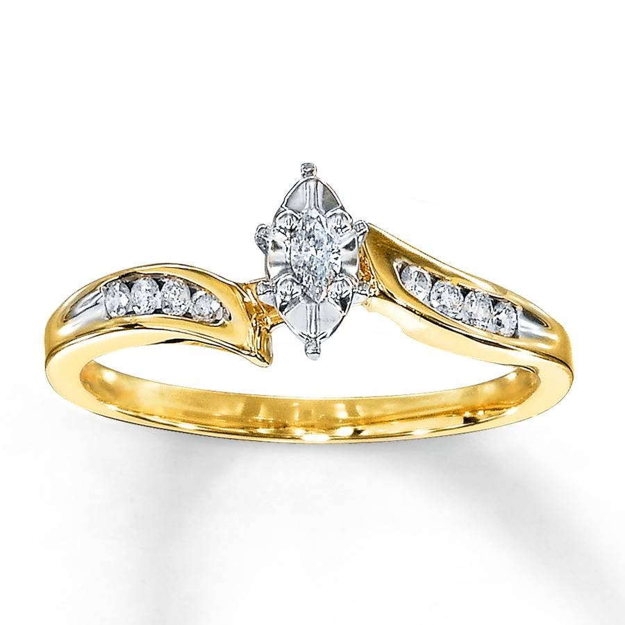 Kay – Diamond Engagement Ring 1/8 Carat Marquise Cut 10K Yellow Gold Pertaining To 10K Diamond Engagement Rings (Gallery 11 of 15)