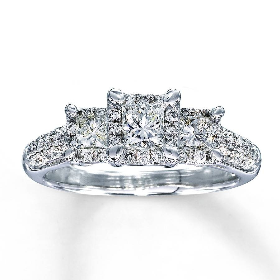 Kay – Diamond Engagement Ring 1 Ct Tw Princess Cut 14K White Gold With Princess Cut Wedding Rings (View 6 of 15)