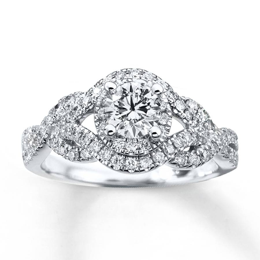 Kay – Diamond Engagement Ring 1 Ct Tw Round Cut 14K White Gold Pertaining To 14K White Gold Engagement Rings (Gallery 5 of 15)