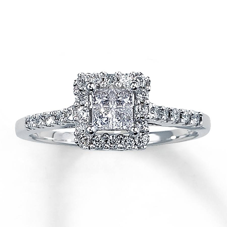 Kay – Diamond Engagement Ring 1/2 Ct Tw Princess Cut 14K White Gold In Princess Cut Wedding Rings (View 7 of 15)
