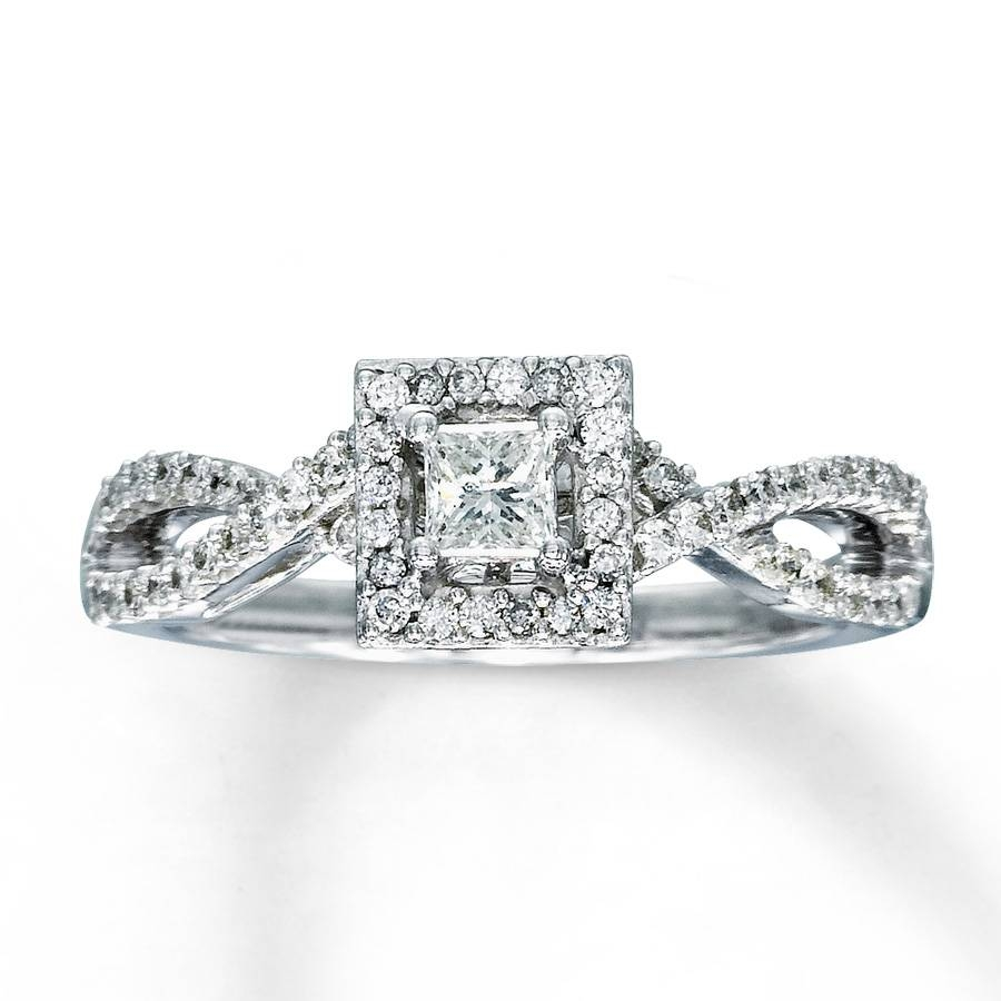 Kay – Diamond Engagement Ring 1/2 Ct Tw Princess Cut 14K White Gold Within 2 Ct Wedding Rings (Gallery 14 of 15)