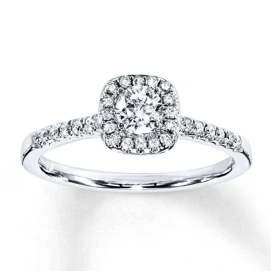 Kay – Diamond Engagement Ring 3/8 Ct Tw Round Cut 10k White Gold Throughout 8 Carat Diamond Engagement Rings (View 7 of 15)