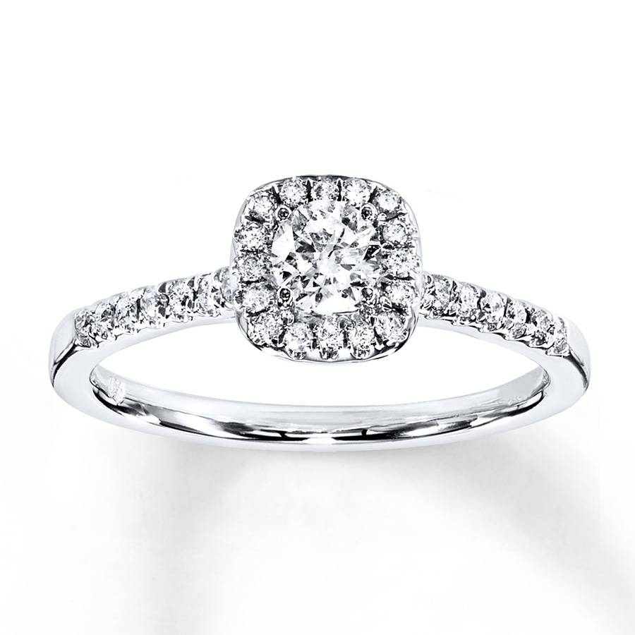 Kay – Diamond Engagement Ring 3/8 Ct Tw Round Cut 10K White Gold With 10K Diamond Engagement Rings (Gallery 4 of 15)