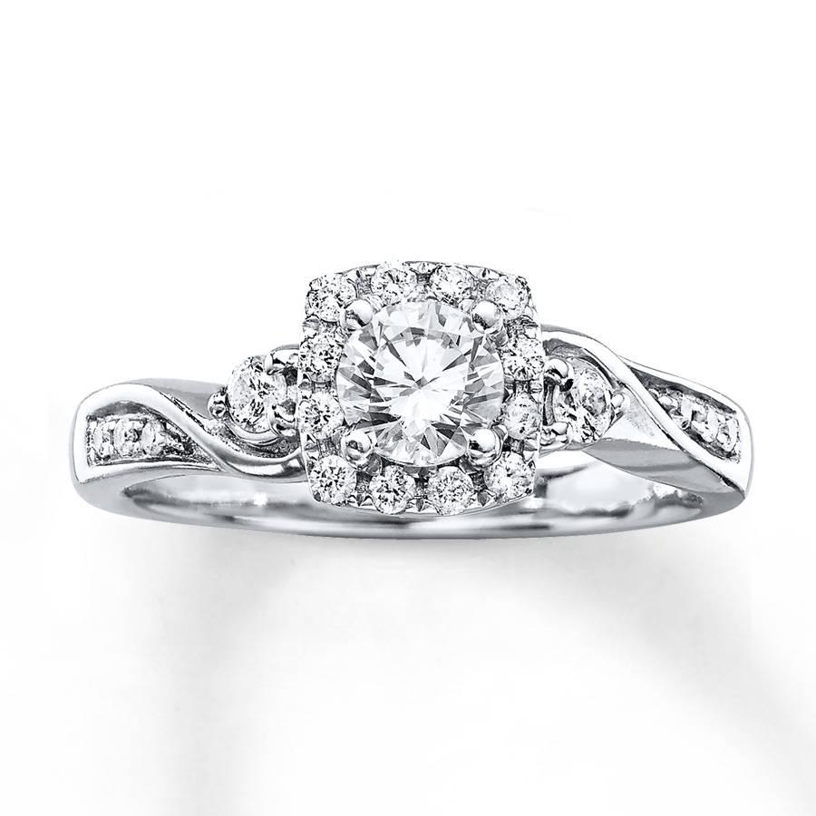 Kay – Diamond Engagement Ring 5/8 Carat Tw Round Cut 14K White Gold For 8 Carat Diamond Engagement Rings (Gallery 13 of 15)