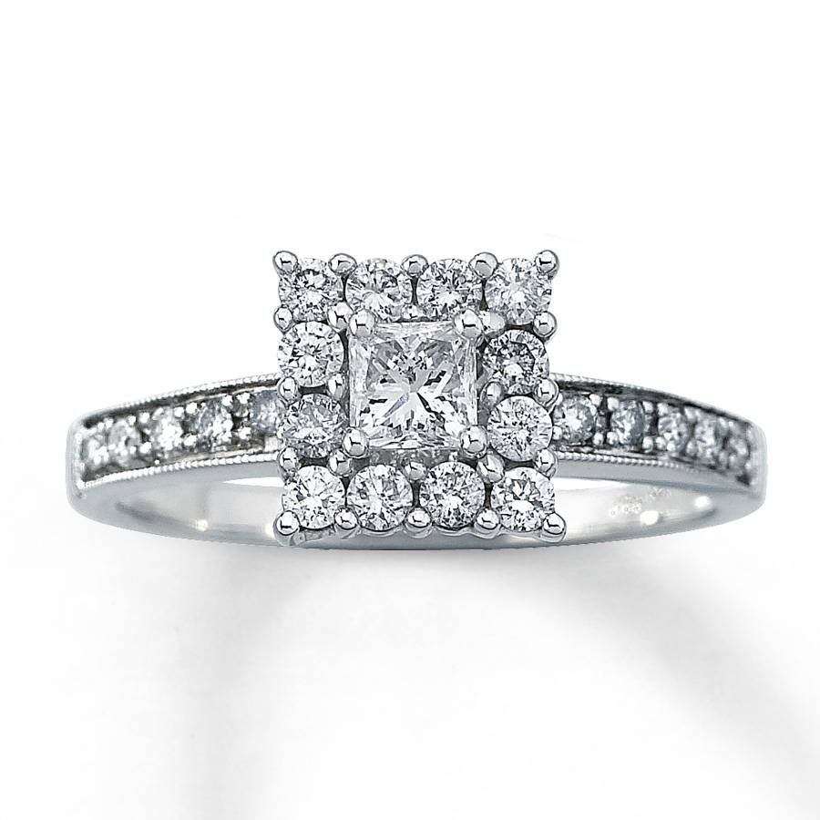 Kay – Diamond Engagement Ring 5/8 Ct Tw Princess Cut 14K White Gold With 14K Princess Cut Engagement Rings (View 10 of 15)