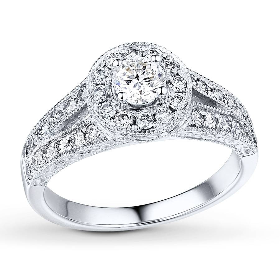 Kay – Diamond Engagement Ring 5/8 Ct Tw Round Cut 14K White Gold With 14K White Gold Engagement Rings (Gallery 2 of 15)