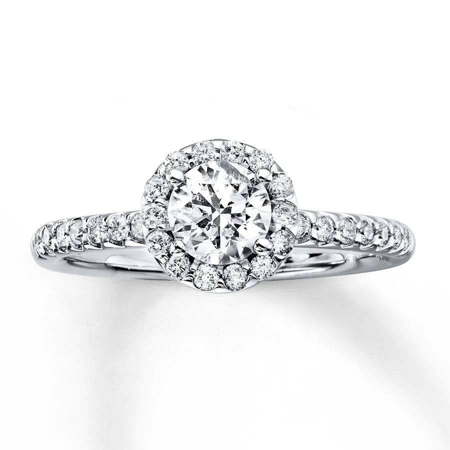 Kay – Diamond Engagement Ring 7/8 Ct Tw Round Cut 14K White Gold Pertaining To 7 Diamond Engagement Rings (View 8 of 15)