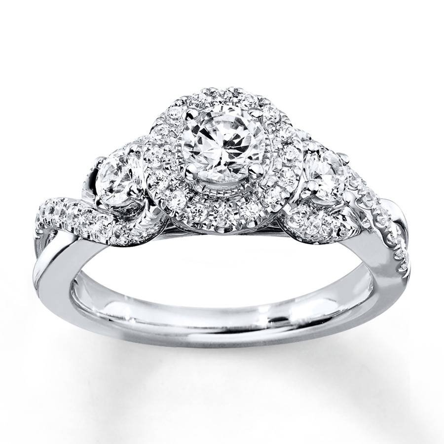 Kay – Diamond Engagement Ring 7/8 Ct Tw Round Cut 14K White Gold Within 7 Diamond Engagement Rings (View 9 of 15)