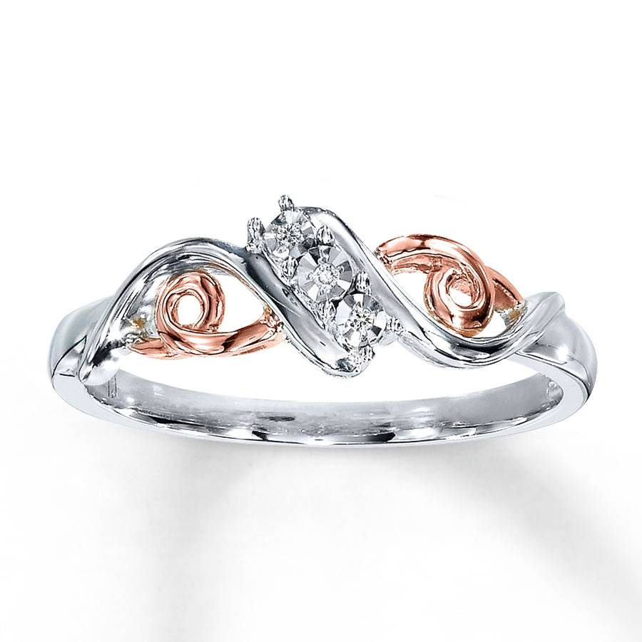 Kay – Diamond Ring 10K Rose Gold Sterling Silver Intended For Best And Newest Silver Engagement Rings With Gold Wedding Bands (View 6 of 15)