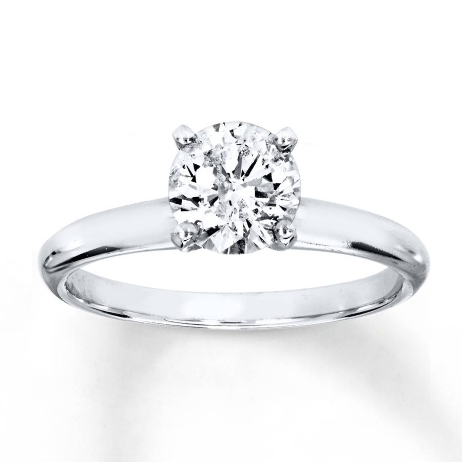 Kay – Diamond Solitaire Ring 1 Carat Round Cut 14K White Gold Throughout Recent One Carat Diamond Wedding Bands (View 8 of 15)