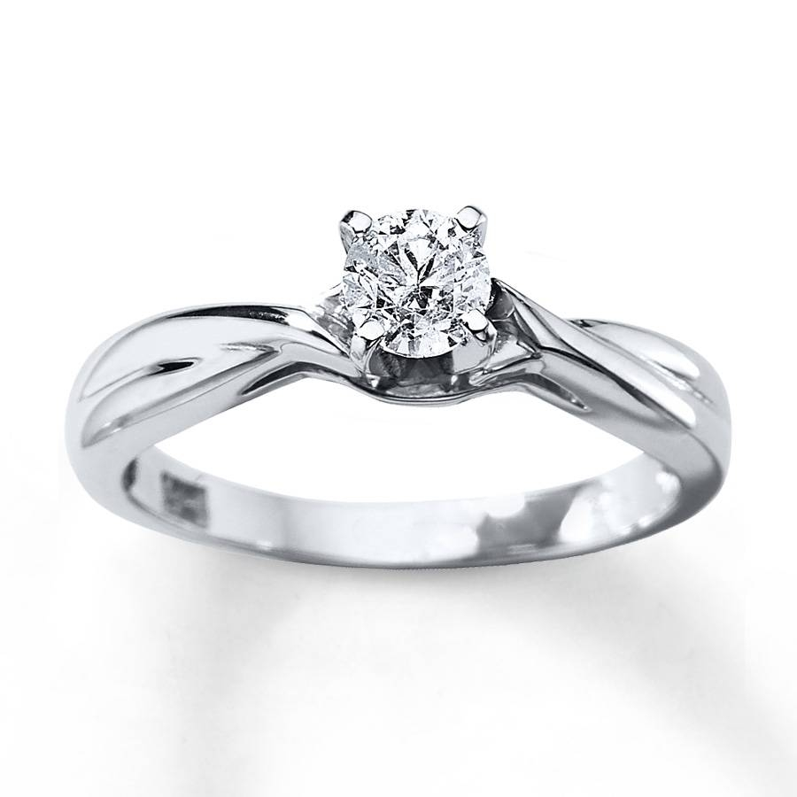 Kay – Diamond Solitaire Ring 3/8 Carat Round Cut 14K White Gold Within 14K White Gold Engagement Rings (View 10 of 15)