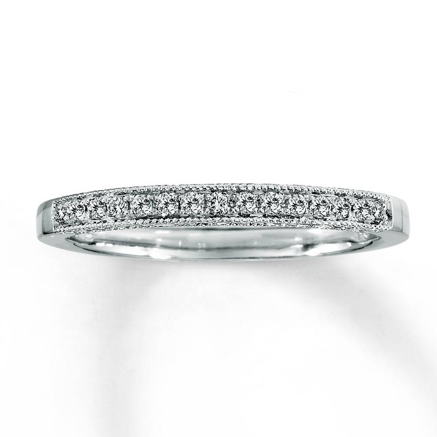 Kay – Diamond Wedding Band 1/8 Ct Tw Round Cut 14K White Gold With Latest One Carat Diamond Wedding Bands (Gallery 4 of 15)
