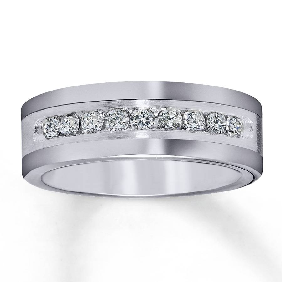Kay – Men's 8mm Wedding Band 1/2 Ct Tw Diamonds Tungsten Carbide Intended For Tungsten Diamonds Wedding Bands (View 2 of 15)