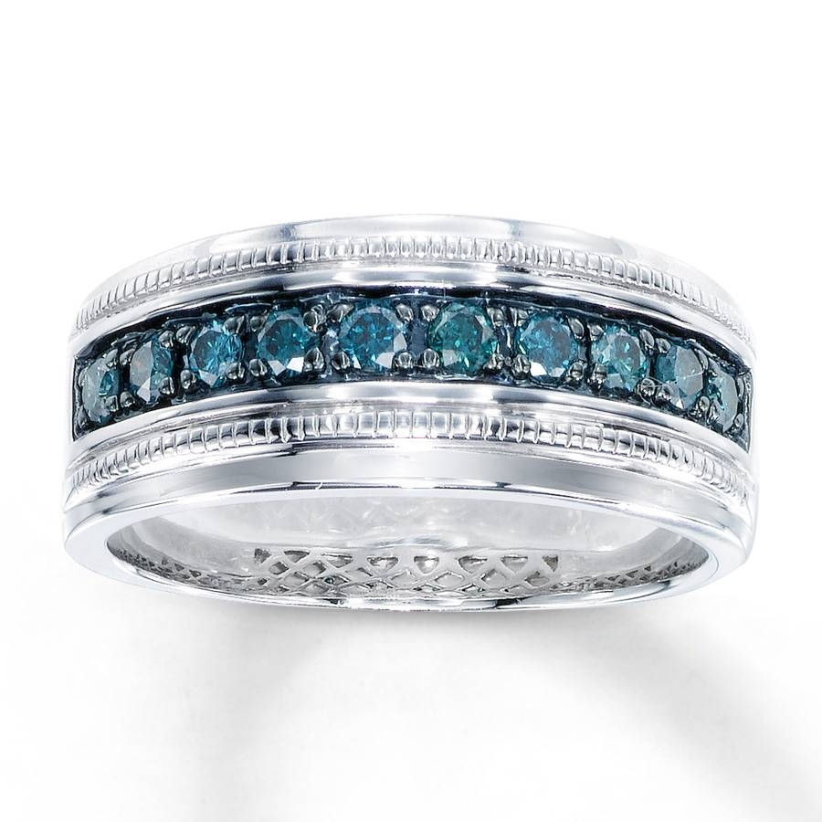 Kay – Men's Blue Diamond Ring 1/2 Ct Tw Round Cut Sterling Silver With Colored Diamond Wedding Bands (Gallery 8 of 15)
