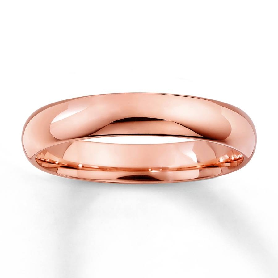 Kay – Men's Wedding Band 10K Rose Gold 4Mm Within Mens Rose Gold Wedding Bands (Gallery 3 of 15)