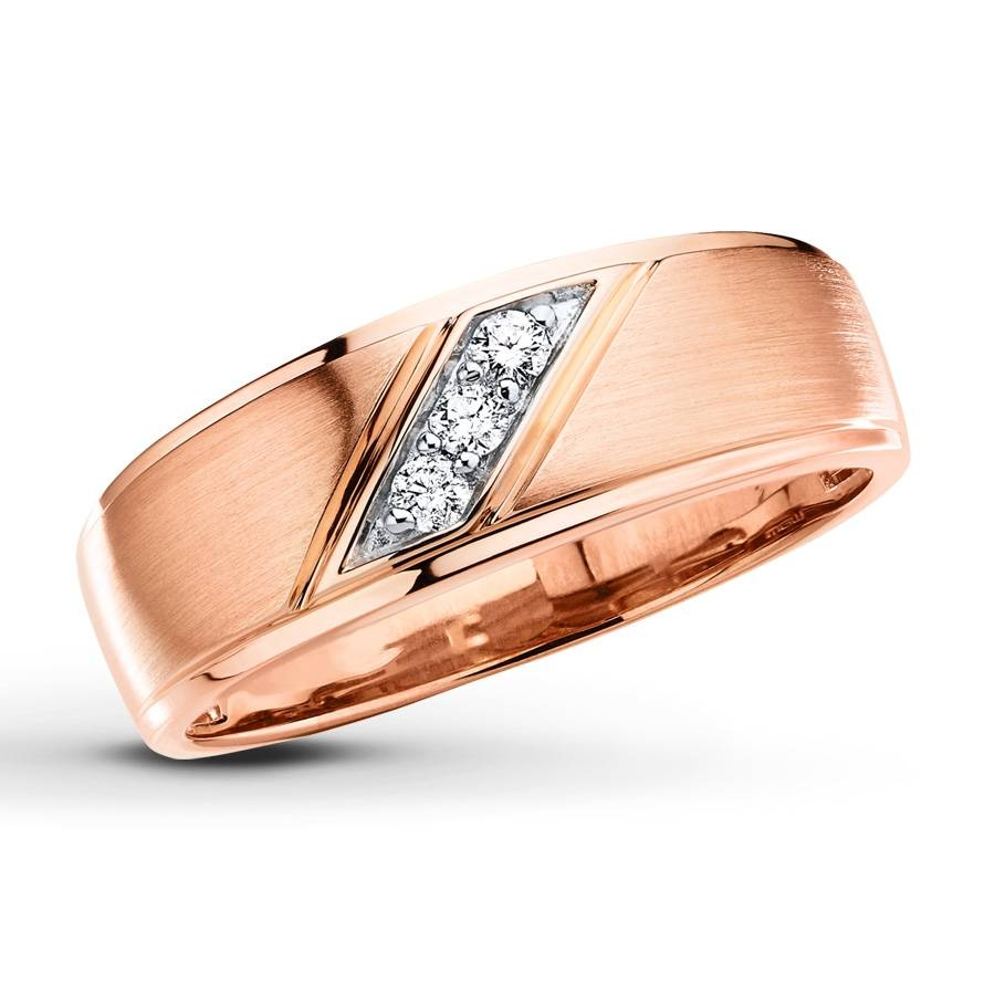 Kay – Men's Wedding Band 1/10 Ct Tw Diamonds 10K Rose Gold Intended For Rose Gold Men Wedding Bands (View 6 of 15)
