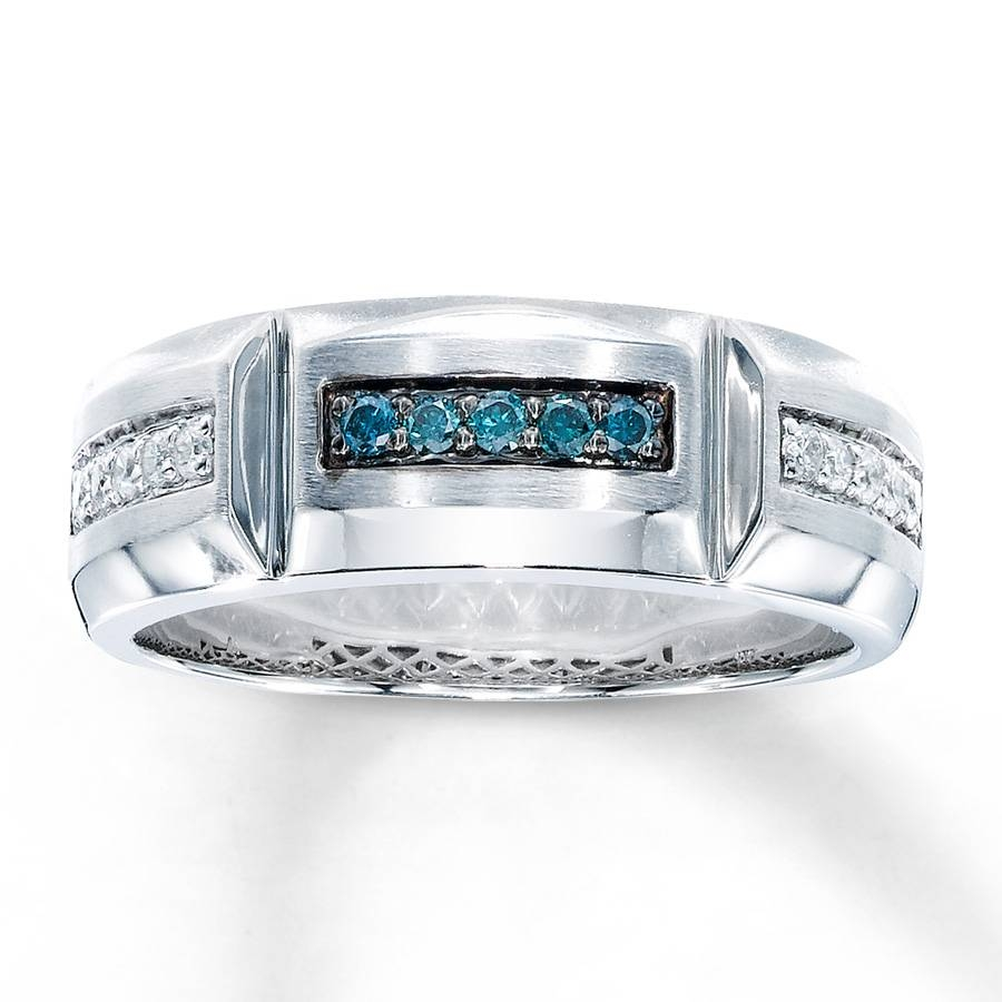 Kay – Men's Wedding Band 1/4 Ct Tw Blue Diamonds 10k White Gold With Regard To Colored Diamond Wedding Bands (View 3 of 15)