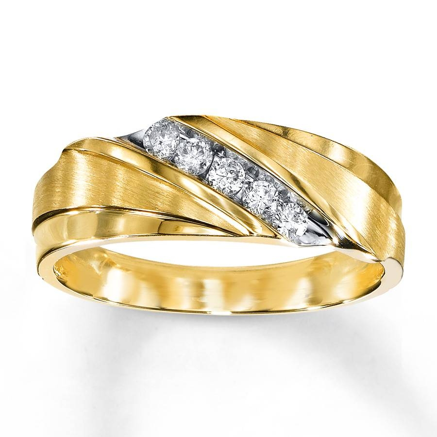 Kay – Men's Wedding Band 1/4 Ct Tw Diamonds 10K Yellow Gold Intended For Mens Yellow Gold Wedding Bands With Diamonds (Gallery 3 of 15)