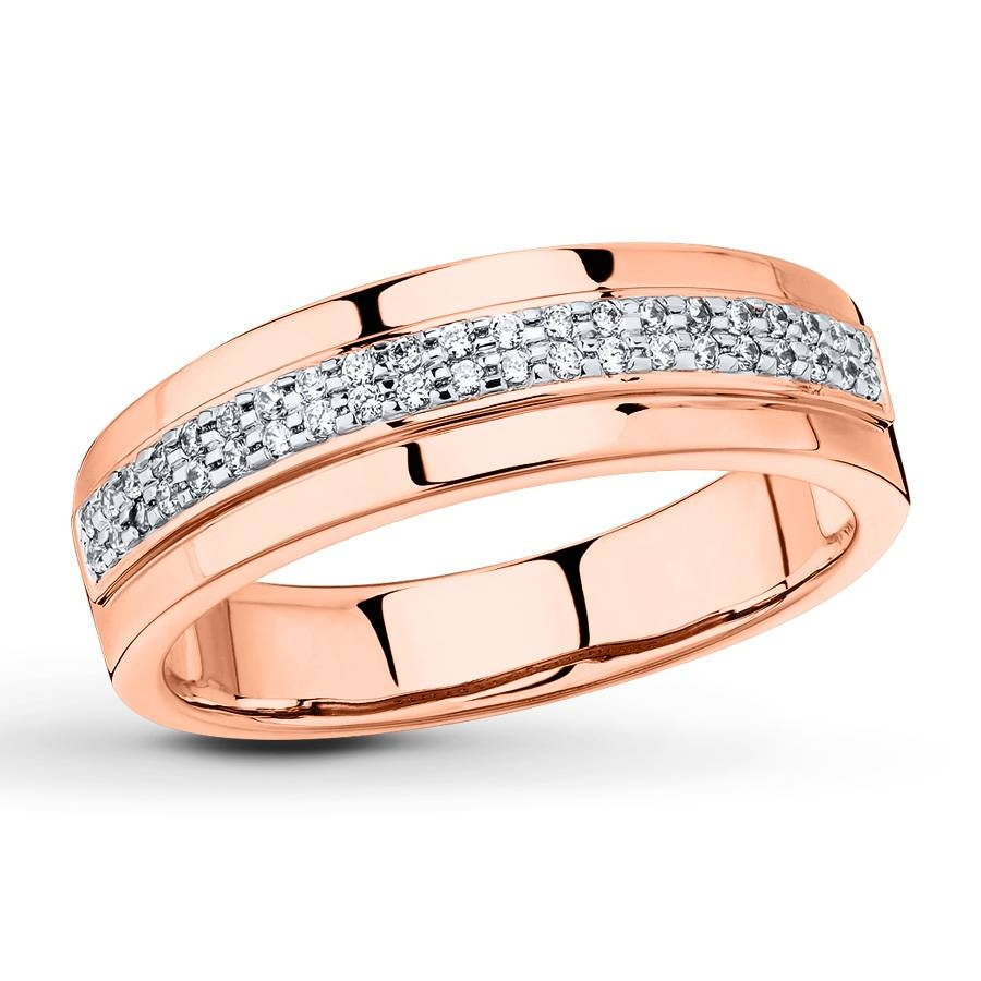 Kay – Men's Wedding Band 1/6 Ct Tw Diamonds 10K Rose Gold Pertaining To Mens Rose Gold Wedding Bands (Gallery 7 of 15)
