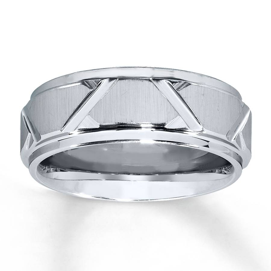 Kay – Men's Wedding Band White Tungsten Carbide 8Mm In 8Mm Tungsten Carbide Wedding Bands (View 8 of 15)