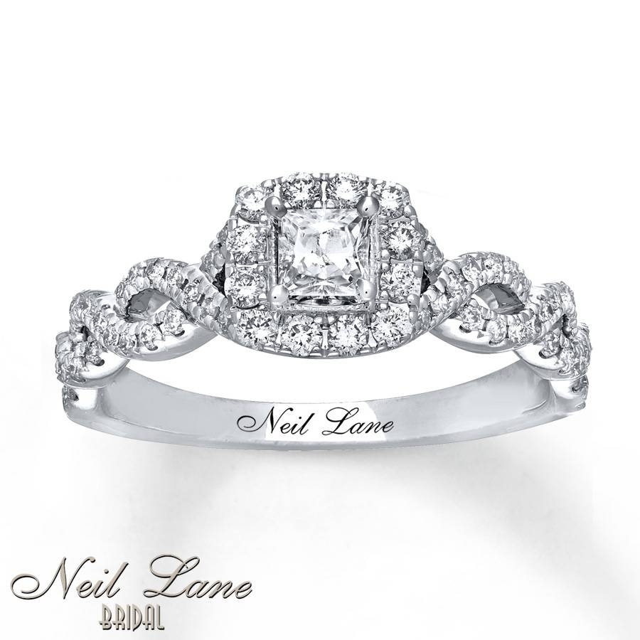 Kay – Neil Lane Engagement Ring 5/8 Ct Tw Princess Cut 14K White Gold With Regard To 14K Princess Cut Engagement Rings (View 11 of 15)