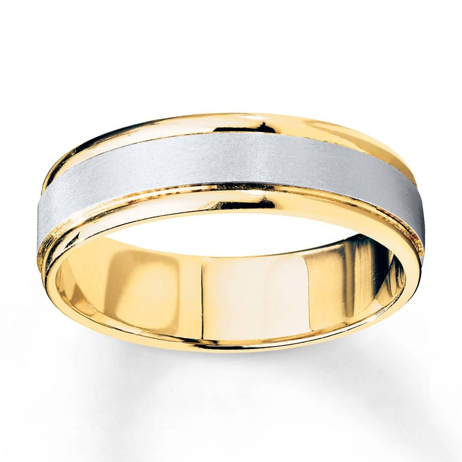 Kay – Wedding Band 10K Two Tone Gold 6Mm Regarding Two Tone Men Wedding Bands (Gallery 1 of 15)
