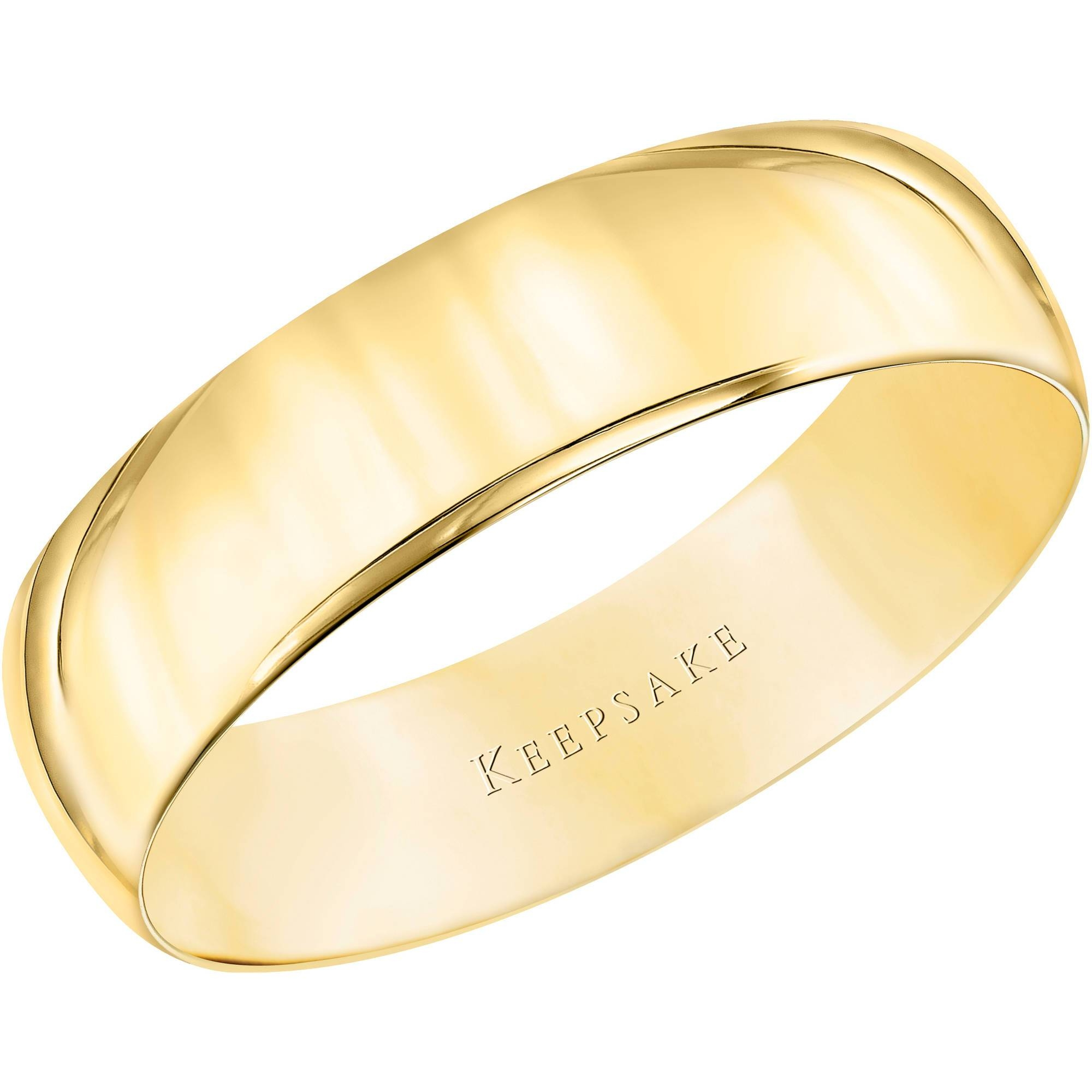 Keepsake 10Kt Yellow Gold Wedding Band With High Polish Finish With White Gold Wedding Bands Rings (Gallery 9 of 15)