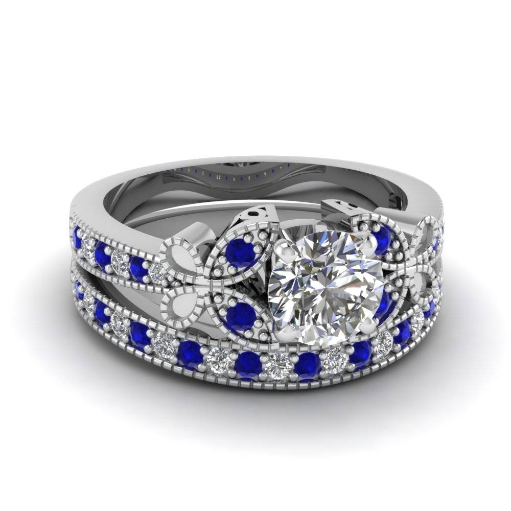Largest Selection Of Blue Sapphire Wedding Ring Sets| Fascinating In Blue Sapphire Wedding Bands (Gallery 12 of 15)