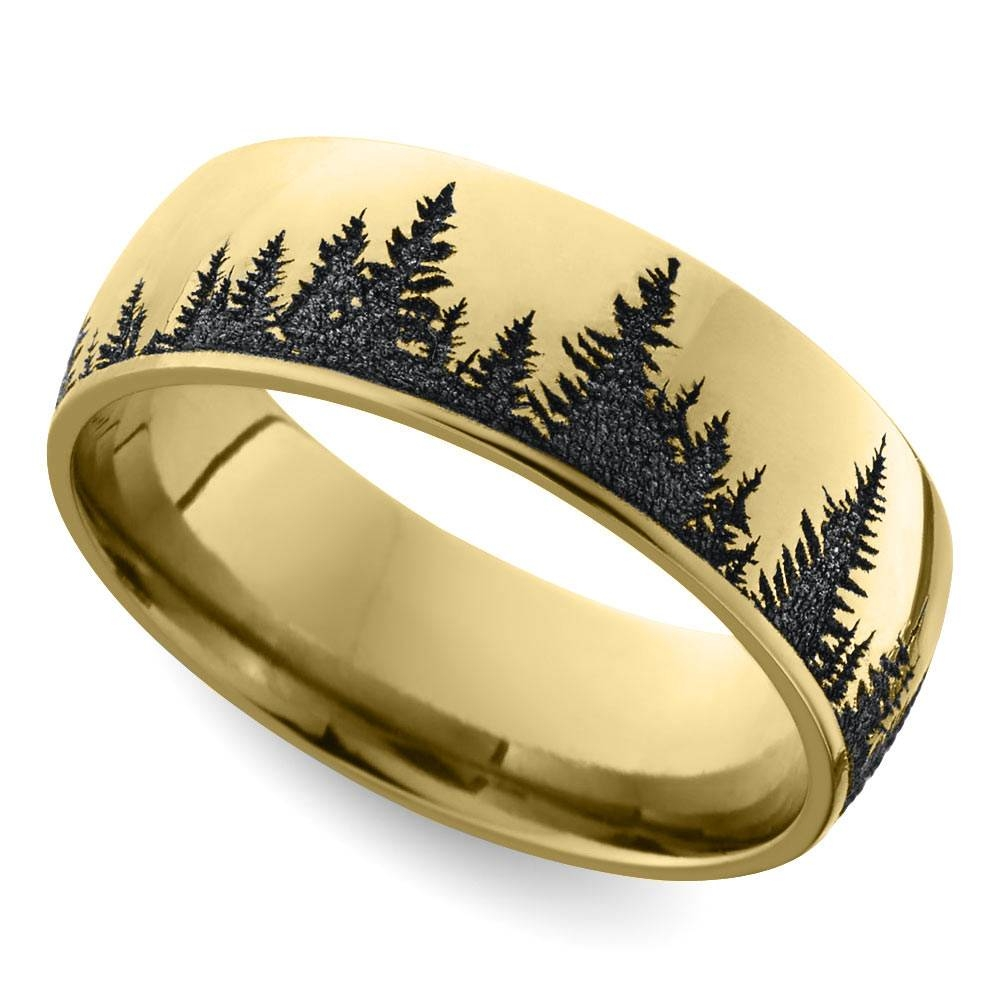 Laser Carved Forest Pattern Men's Wedding Ring In Yellow Gold With Carved Wedding Bands (View 10 of 15)