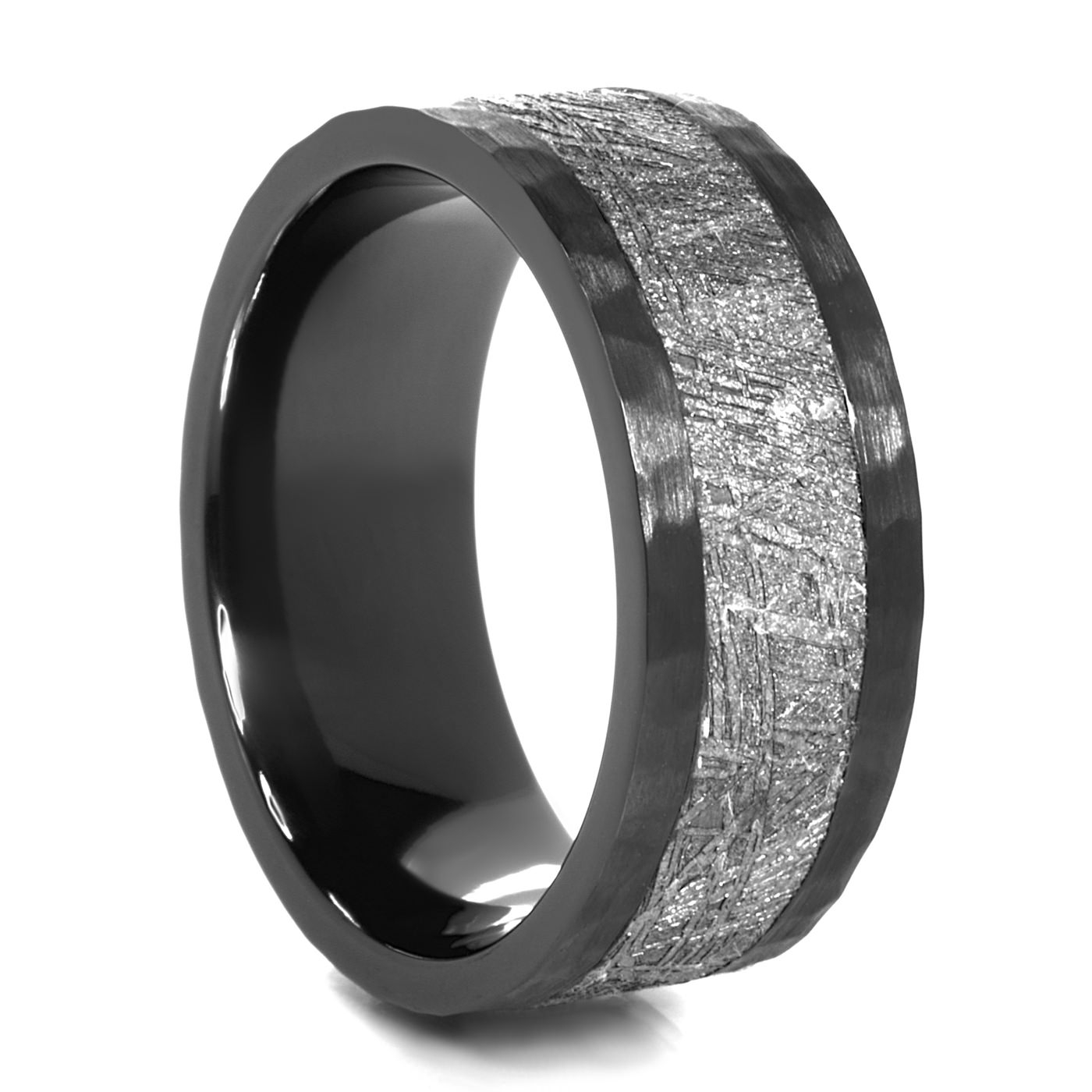 Lashbrook Astro Black Zirconium & Meteorite Ring – 9Mm Intended For Black Zirconium Wedding Bands (View 8 of 15)