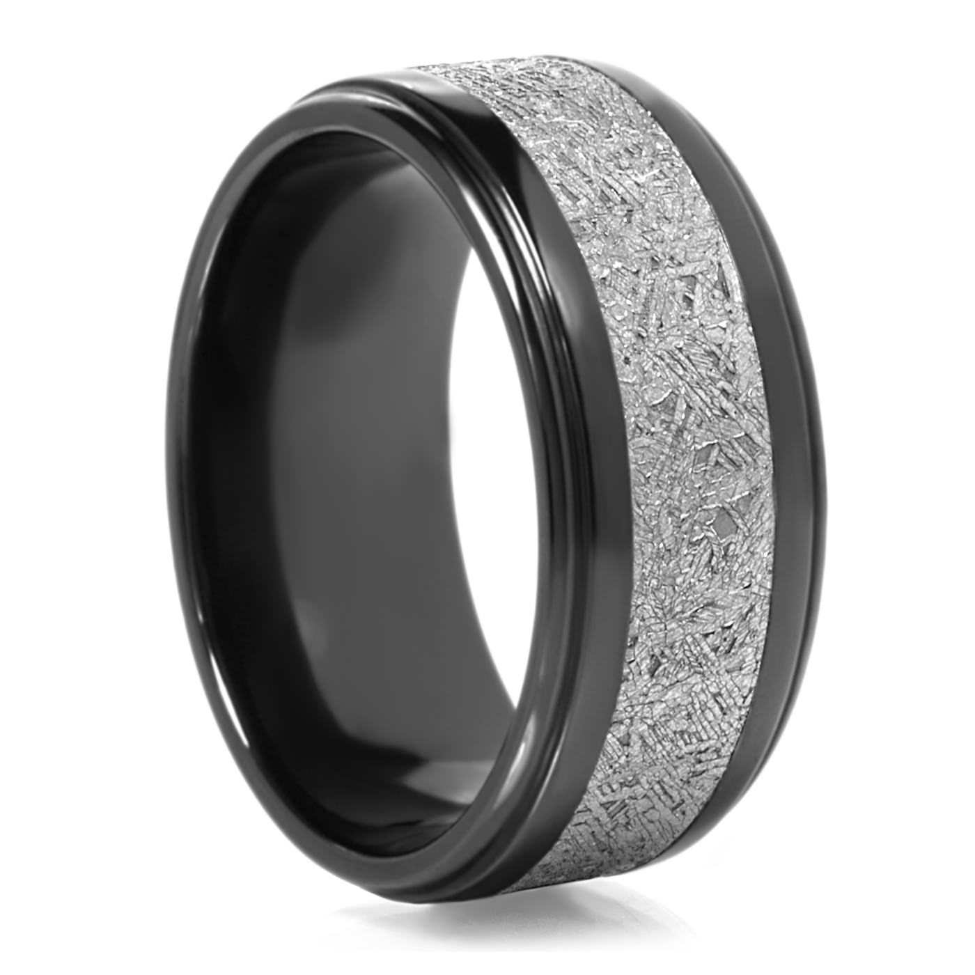 Lashbrook Black Zirconium & Meteorite Mens Wedding Band – 90 Day Pertaining To Black Zirconium Wedding Bands (View 9 of 15)