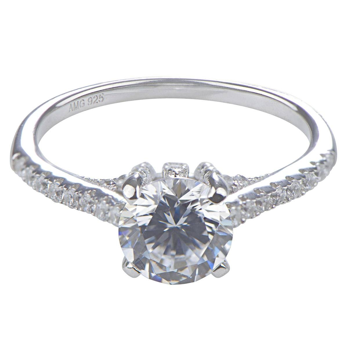 Lexis' Round Cut Cubic Zirconia Engagement Ring In Platinum Cubic Zirconia Wedding Rings (View 8 of 15)