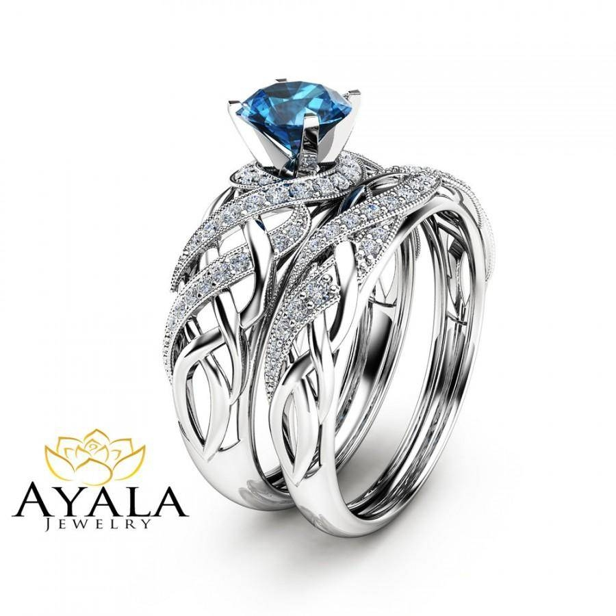 London Blue Topaz Bridal Set In 14K White Gold Unique Engagement With London Gold Engagement Rings (Gallery 3 of 15)